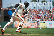 San Francisco Giants third baseman Pablo Sandoval (48) runs out a ground ball against the Philadelphia Phillies at AT&T Park in San Francisco, California, on August 20, 2017. (Stan Olszewski/Special to S.F. Examiner)