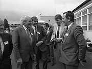 New Facilities At Emerald Star Line.   (R59)..1987..08.06.1987..06.08.1987..8th June 1987..the Minister for Transport and Tourism, Mr John Wilson TD opened a new Customer Service Facility at Emerald Star Line,Carrick on Shannon. Following the viewing of the facility and the planting of a commemorative tree, the Minister, accompanied by Mr Brian Slowey,Managing Director, Guinness,Ireland and Mr E H Bodell, Chairman, Emerald Star line departed on a cruise of The Shannon aboard an Emerald Star Cruiser...Image shows the Minister for Transport and Tourism, Mr John Wilson TD,(2nd Left), arriving at Emerald Star Lines to open the new Customer Service Facility.