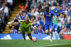 Kasper Schmeichel of Leicester City reaches out to grab the ball from Pedro of Chelsea - Mandatory byline: Jason Brown/JMP - 15/05/2016 - FOOTBALL - London, Stamford Bridge - Chelsea v Leicester City - Barclays Premier League