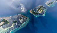 Aerial view of a luxury resort at Southern Maldives
