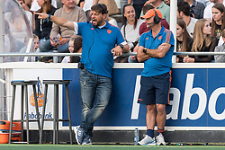 (L-R) coach Max Caldas of The Netherlands, assistent coach Graham Reid of The Netherlands during the Champions Trophy match between the Netherlands and France on the fields of G.H.C. Rapid on June 15th, 2018 in Gorinchem, The Netherlands.