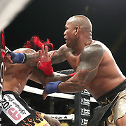 DAYTONA BEACH, FL - SEPTEMBER 11: Hector Lombard (R) punches Kendall Grove during the Bare Knuckle Fighting Championships at the Ocean Center on September 11, 2020 in Daytona Beach, Florida. (Photo by Alex Menendez/Getty Images) *** Local Caption *** Hector Lombard; Kendall Grove