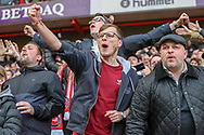 Charlton Athletic  fans celebrating during the EFL Sky Bet League 1 match between Charlton Athletic and Rochdale at The Valley, London, England on 4 May 2019.