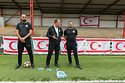Mustafa Boratas, head coach for Northern Cyprus with team coaches. Northern Cyprus 3 v Padania 2 during the Conifa Paddy Power World Football Cup semi finals on the 7th June 2018 at Carshalton Athletic Football Club in the United Kingdom. The CONIFA World Football Cup is an international football tournament organised by CONIFA, an umbrella association for states, minorities, stateless peoples and regions unaffiliated with FIFA.