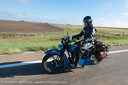 Pat Simmons of the Doobie Brothers riding his 1929 Harley-Davidson JD during Stage 8 of the Motorcycle Cannonball Cross-Country Endurance Run, which on this day ran from Junction City, KS to Burlington, CO., USA. Saturday, September 13, 2014.  Photography ©2014 Michael Lichter.
