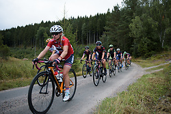 Lisa Brennauer in the peloton across the first gravel sector at the Crescent Vargarda - a 152 km road race, starting and finishing in Vargarda on August 13, 2017, in Vastra Gotaland, Sweden. (Photo by Sean Robinson/Velofocus.com)