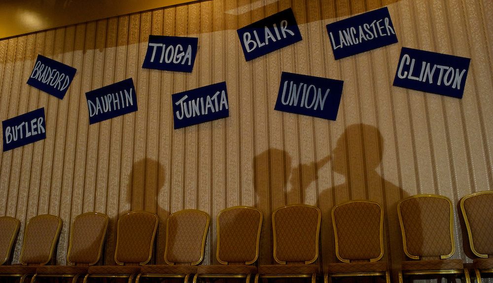 Supporters of  the candidate for Attorney General of Pennsylvania Kathleen Kane carouse during here campaign night party at the Radisson Hotel in Scranton, Pa., on April 24, 2012.  Placards of the state's counties decorate the walls.  Republican presidential primaries in Connecticut, Delaware, New York, Pennsylvania, and Rhode Island also took place.