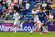 Cardiff City forward Mark Harris  (29) is fouled by Bournemouth midfielder Ryan Christie (10) during the EFL Sky Bet Championship match between Cardiff City and Bournemouth at the Cardiff City Stadium, Cardiff, Wales on 18 September 2021.