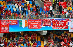 Liverpool fans hang banners in the stands during the UEFA Champions League Final at the NSK Olimpiyskiy Stadium, Kiev.