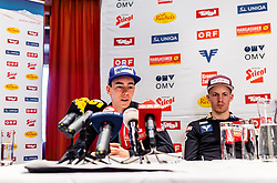 22.02.2019, Seefeld, AUT, FIS Weltmeisterschaften Ski Nordisch, Seefeld 2019, Skisprung, Herren, Pressekonferenz, im Bild Stefan Kraft (AUT), Michael Hayboeck (AUT) // Stefan Kraft of Austria, Michael Hayboeck of Austria during a press conference of ski jumping team of the FIS Nordic Ski World Championships 2019. Seefeld, Austria on 2019/02/22. EXPA Pictures © 2019, PhotoCredit: EXPA/ JFK