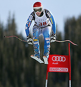 SHOT 12/1/11 12:50:19 PM - U.S. skiier Marco Sullivan launches himself off the Red Tail jump during men's downhill training on the Birds of Prey course at the Audi FIS World Cup on December 1, 2011 in Beaver Creek, Co. (Photo by Marc Piscotty / © 2011)