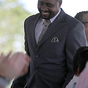 """Inductee Thomas """"Hitman"""" Hearns addresses the crowd during the 23rd Annual induction weekend opening ceremony at the International Boxing Hall of Fame on Thursday, June 7, 2012 in Canastota, NY. (AP Photo/Alex Menendez)"""