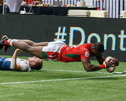 March 10, 2018 - Vancouver, British Columbia, U.S. - VANCOUVER, BC - MARCH 10: Willy Ambaka (#12) of Kenya score is called back as he put a foot into touch during Game # 3- Kenya vs France Pool C match at the Canada Sevens held March 10-11, 2018 in BC Place Stadium in Vancouver, BC. (Photo by Allan Hamilton/Icon Sportswire) (Credit Image: © Allan Hamilton/Icon SMI via ZUMA Press)