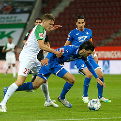 l-r: im Zweikampf, Aktion, mit Alfred Finnbogason #27 (FC Augsburg) und Florian Grillitsch #11 (TSG 1899 Hoffenheim), FC Augsburg vs. TSG 1899 Hoffenheim, 17.06.2020,<br /> <br /> Foto: Christian Kolbert/kolbert-press/pool/PIX-Sportfotos<br /> <br /> - DFL regulations prohibit any use of photographs as image sequences and/or quasi-video<br /> - Editorial Use ONLY<br /> - National and International News Agencies OUT
