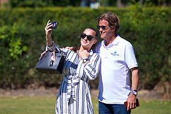 LIVERPOOL, ENGLAND - Sunday, June 24, 2018: Alexandra Borg takes a selfie with tournament director Anders Borg during day four of the Williams BMW Liverpool International Tennis Tournament 2018 at Aigburth Cricket Club. (Pic by Paul Greenwood/Propaganda)