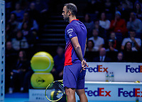 Tennis - 2019 Nitto ATP Finals at The O2 - Day Six<br /> <br /> Doubles Group Max Mirnyi: Juan Sebastien Cabal (COL) & Robert Farah (COL) Vs. Kevin Krawietz (GER) & Andreas Mies (GER)<br /> <br /> Juan Sebastien Cabal (COL) sets the play<br /> <br /> <br /> COLORSPORT/DANIEL BEARHAM