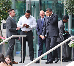 The Manchester City Chairman Khaldoon Al Mubarak leaves The Lowry Hotel on Monday evening and head to The Etihad Stadium to watch the Premier League match against Everton.