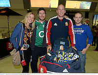 3 June 2013; Paul O'Connell, British & Irish Lions, poses for a photograph with, from left, Shiela O'Connell, from Mourneabbey, Cork, Paudie Collins, from Freemount, Cork, and David McCarthy, Kanturk, Cork, at Perth International Airport upon the squad's arrival in Australia for the British & Irish Lions Tour 2013. Perth International Airport, Perth, Australia. Picture credit: Stephen McCarthy / SPORTSFILE