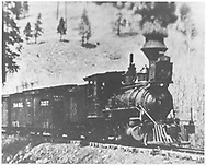 """RGS 2-8-0 #3 with freight train approaching Millwood.<br /> RGS  Millwood, CO  post 1903<br /> In book """"RGS Story, The Vol. XII: Locomotives and Rolling Stock"""" page 18<br /> This is an enlargement of the image at """"RGS Story Vol. VIII"""", p. 178<br /> Enlargement of RD155-006."""