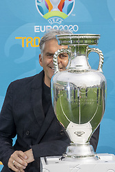 Handout photo dated 02/06/2021 provided by JSHPIX of former Scotland international Darren Jackson with the Euro 2020 trophy as the Henri Delaunay Cup made a special visit to Glasgow today as part of the UEFA EURO 2020 Trophy Tour. Issue date: Wednesday June 2, 2021.