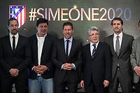 Mono Burgos (2L), Diego Pablo `Cholo´ Simeone (3L), Enrique Cerezo (2R) and Jose Luis Caminero (R) during Simeone´s contract renewal announcement as Atletico de Madrid´s coach until 2020, in Madrid, Spain. March 24, 2015. (ALTERPHOTOS/Victor Blanco)