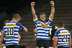 Jan de Klerk of Western Province celebrates after the final whistle as Western Province beat the Sharks during the Currie Cup Premier Division match between the DHL Western Province and the Sharks held at the DHL Newlands Rugby Stadium in Cape Town, South Africa on the 3rd September  2016<br /> <br /> Photo by: Shaun Roy / RealTime Images