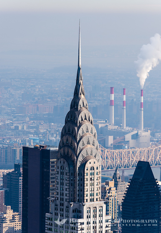 US, New York City. View from the Empire State Building observation deck. Chrysler Building.