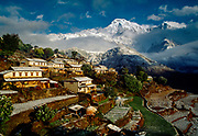 Gandrung village after snowfall, Annapurna South, Nepal