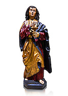 Gothic wooden statue of Sant Joan Evangelista (John the Evangelist) from Gremany, circa 1500, tempera and gold leaf on wood.  National Museum of Catalan Art, Barcelona, Spain, inv no: MNAC  64114. Against a white background. .<br /> <br /> If you prefer you can also buy from our ALAMY PHOTO LIBRARY  Collection visit : https://www.alamy.com/portfolio/paul-williams-funkystock/gothic-art-antiquities.html  Type -     MANAC    - into the LOWER SEARCH WITHIN GALLERY box. Refine search by adding background colour, place, museum etc<br /> <br /> Visit our MEDIEVAL GOTHIC ART PHOTO COLLECTIONS for more   photos  to download or buy as prints https://funkystock.photoshelter.com/gallery-collection/Medieval-Gothic-Art-Antiquities-Historic-Sites-Pictures-Images-of/C0000gZ8POl_DCqE