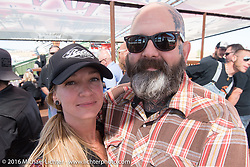 Darren McKeag and Missy Webb at the Builder Breakfast for people to meet with the participants of Michael Lichter's Motorcycles as Art Exhibition at the Buffalo Chip Crossroads during the annual Sturgis Black Hills Motorcycle Rally.  SD, USA.  August 7, 2016.  Photography ©2016 Michael Lichter.