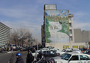 Street art in Tehran<br /> Iranian artist and designer Mehdi Ghadyanloo, with the help of the municipality, is slowly brightening up the city of Tehran one wall at a time. The 33-year old street artist has been painting murals and walls in Tehran for the last 5 years age, during which he's reported to have painted over one hundred walls.<br /> Like most growing cities, Tehran is an architectural mishmash with buildings often having only one facade and the other three just left blank and grey. This doesn't make for a beautiful city but it is a great environment for mural work. Some 8 years ago, the municipality set up a committee to help promote mural art in Tehran. Now artists like Mehdi Ghadyanloo are financed by the municipality to decorate the enormous facades of building with beautiful works of art.<br /> ©Mehdi Ghadyanloo/Exclusivepix