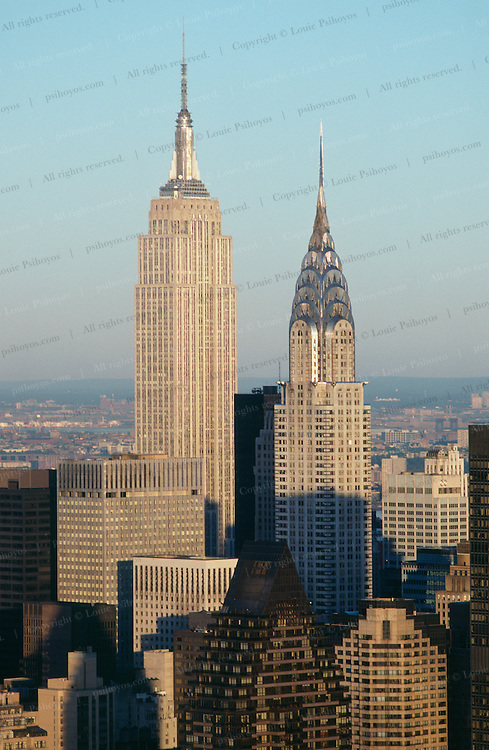 New York City skyline with Empire State Building (left)  and Chrysler Building (right).