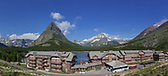 Panoramic of the Swiftcurrent Hotel in the Many Glacier Valley of Glacier National Park, Montana, USA