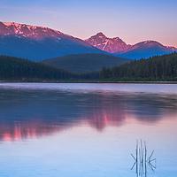 Early morning on Pyramid Lake, Jasper National Park.