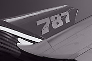 Empennage of the new Boeing 787 Dreamliner.