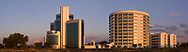 A panoramic image of the Ministry of Minerals, Energy and Water Resources (also known as the Ministry of Mines) on the left and the Ministry of Health on the right in downtown Gaborone, Botswana.