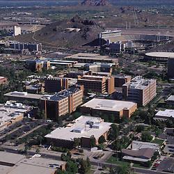 Aerial view of the Arizona State University, downtown Phoenix campus. Sun Devil Stadium
