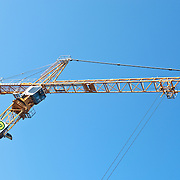 Low angle view of a crane on construction site