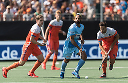 (L-R) Mirco Pruyser of The Netherlands, Sardar Singh of India, Valentin Verga of The Netherlands during the Champions Trophy match between the Netherlands and India on the fields of BH&BC Breda on June 30, 2018 in Breda, the Netherlands