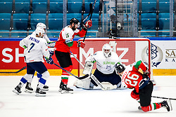 Andrew Sarauer of Hungary, Luka Gracnar of Slovenia and Csanad Erdely of Hungary during ice hockey match between Hunngary and Kazakhstan at IIHF World Championship DIV. I Group A Kazakhstan 2019, on May 3, 2019 in Barys Arena, Nur-Sultan, Kazakhstan. Photo by Matic Klansek Velej / Sportida