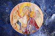 The 11th century Roman Byzantine Church of the Holy Saviour in Chora and a fresco of an angel in the parecclesion chapel Endowed between 1315-1321 by the powerful Byzantine statesman and humanist  Theodore Metochites. Kariye Museum  Istanbul .<br /> <br /> If you prefer to buy from our ALAMY PHOTO LIBRARY  Collection visit : https://www.alamy.com/portfolio/paul-williams-funkystock/holy-saviour-chora-istanbul.html<br /> <br /> Visit our TURKEY PHOTO COLLECTIONS for more photos to download or buy as wall art prints https://funkystock.photoshelter.com/gallery-collection/3f-Pictures-of-Turkey-Turkey-Photos-Images-Fotos/C0000U.hJWkZxAbg
