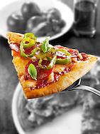 Italian pepperoni Pizza slice photo. Funky Stock pizzas photos
