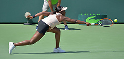 March 29, 2018 - Miami, FL, United States - KEY BISCAYNE, FL - MARCH, 29: Sloane Stephens (USA) in action during day 11 of the 2018 Miami Open held at the Crandon Park Tennis Center on March 29, 2018 in Key Biscayne, Florida.     Credit: Andrew Patron/Zuma Wire (Credit Image: © Andrew Patron via ZUMA Wire)