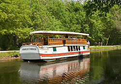 Washington DC; USA: Along the C&O Canal, or Chesapeake and Ohio Canal. Tour boat Charles F Mercer re-creates the towpath barging with mules at Great Falls.Photo copyright Lee Foster Photo # 28-washdc80428