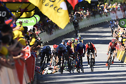 July 4, 2017 - Vittel, FRANCE - Great Britain Mark Cavendish of Dimension Data felt in the final sprint of the fourth stage of the 104th edition of the Tour de France cycling race, 207,5 km from Mondorf-les-Bains, Luxembourg, to Vittel, France, Tuesday 04 July 2017. This year's Tour de France takes place from July first to July 23rd...BELGA PHOTO DIRK WAEM (Credit Image: © Dirk Waem/Belga via ZUMA Press)