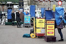 Bookmakers set up their stalls at Musselburgh Racecourse.