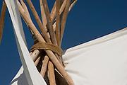 Extreme closeup of tipi poles<br />