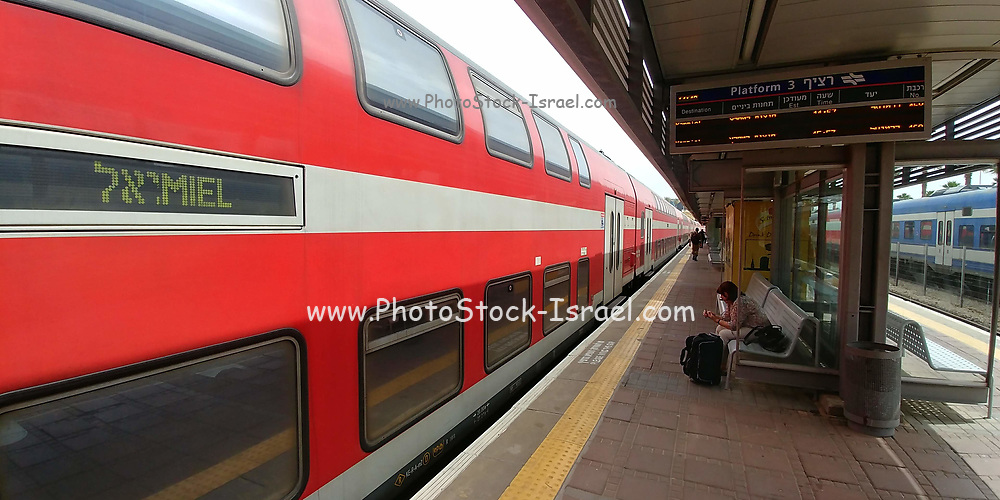 Israel, a platform in an open air Train Station
