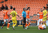 Fleetwood Town's Nathan Sheron (#29) is shown a red card by Referee Darren Bond for this tackle on Blackpool's Matty Virtue<br /> <br /> Photographer Stephen White/CameraSport<br /> <br /> The EFL Sky Bet League One - Blackpool v Fleetwood Town - Monday 22nd April 2019 - Bloomfield Road - Blackpool<br /> <br /> World Copyright © 2019 CameraSport. All rights reserved. 43 Linden Ave. Countesthorpe. Leicester. England. LE8 5PG - Tel: +44 (0) 116 277 4147 - admin@camerasport.com - www.camerasport.com<br /> <br /> Photographer Stephen White/CameraSport<br /> <br /> The EFL Sky Bet Championship - Preston North End v Ipswich Town - Friday 19th April 2019 - Deepdale Stadium - Preston<br /> <br /> World Copyright © 2019 CameraSport. All rights reserved. 43 Linden Ave. Countesthorpe. Leicester. England. LE8 5PG - Tel: +44 (0) 116 277 4147 - admin@camerasport.com - www.camerasport.com