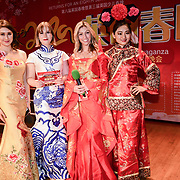 Presenter Isabella Lei-Carter,Katharina Kempf and Lucy Fletcher of the 2020 China-Britain Chinese New Year Extravaganza with 200 performers from over 20 art groups from both China and the UK showcase at Logan Hall on 18th January 2020, London, UK.